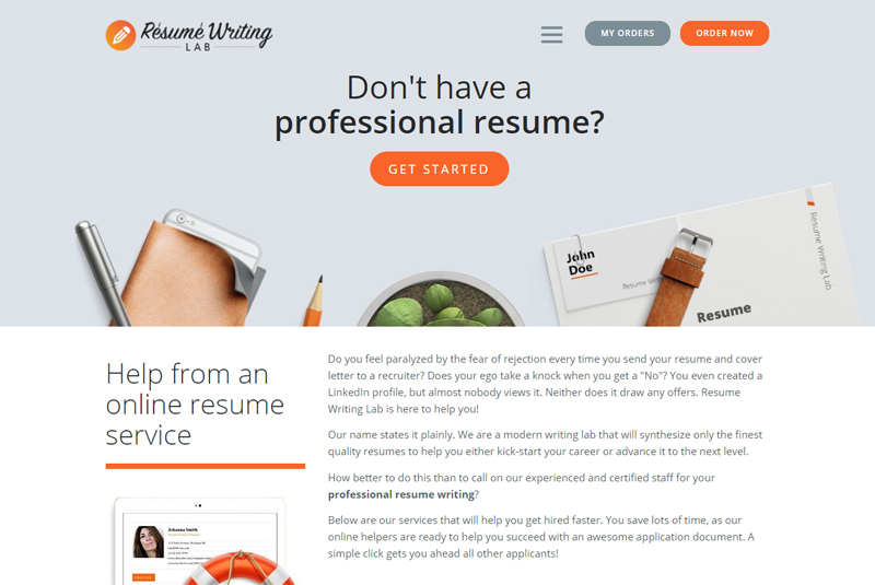 front page of resumewritinglab